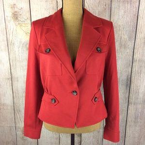 Cabi #3374 Little Red Jacket Ponte Blazer Sz 10